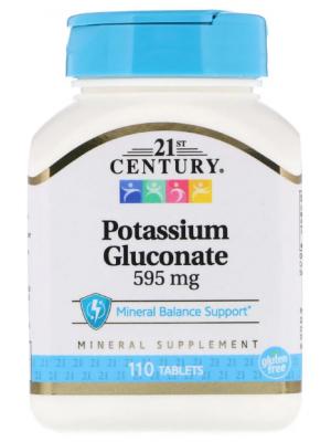 Минералы 21st Century Potassium Gluconate 595 mg (110 таб.)