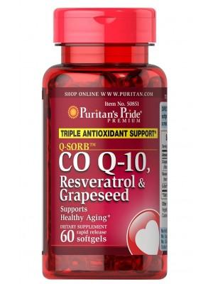 Puritan's Pride CO Q-10, Rasveratrol, Grapeseed (60 капс.)