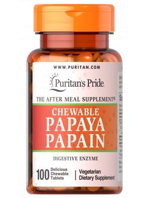 Пробиотики и ферменты Puritan's Pride Papaya Papain Chewable (100 таб.)