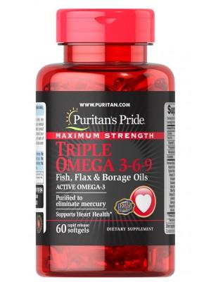 Омега жирные кислоты Puritan's Pride Triple Omega 3-6-9 Maximum Strength (60 капс.)